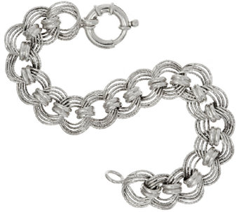 "Vicenza Silver Sterling 7-1/4"" Diamond Cut Status Curb Link Bracelet - J317723"