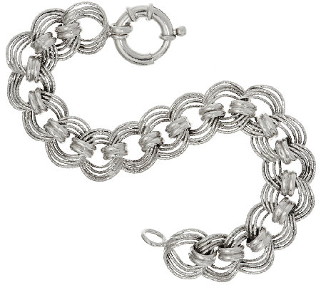 "Vicenza Silver Sterling 7-1/4"" Diamond Cut Status Curb Link Bracelet"