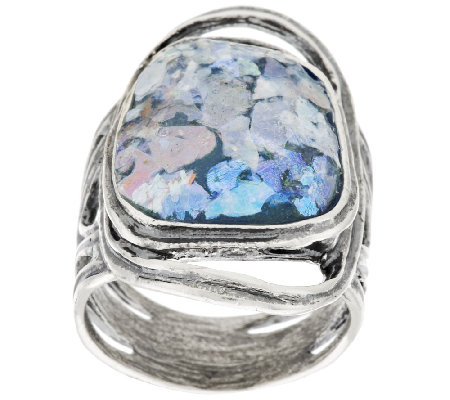 Or Paz Organic Design Roman Glass Sterling Ring