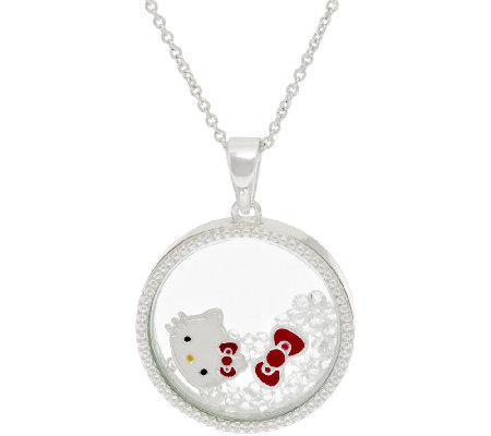 "Hello Kitty Crystal Shaker Pendant with 18"" Chain"