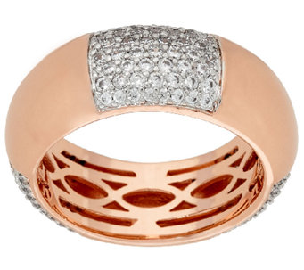 Bronze Polished & Crystal Station Ring by Bronzo Italia - J321423