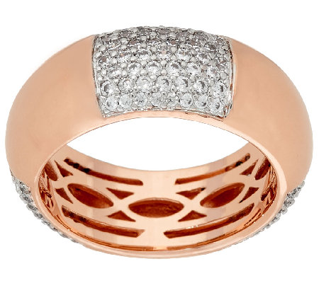 Bronze Polished & Crystal Station Ring by Bronzo Italia