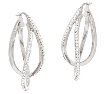 """As Is"" VicenzaSilver Sterling 1-3/4"" Crystal Double Hoop Earrings - J322423"