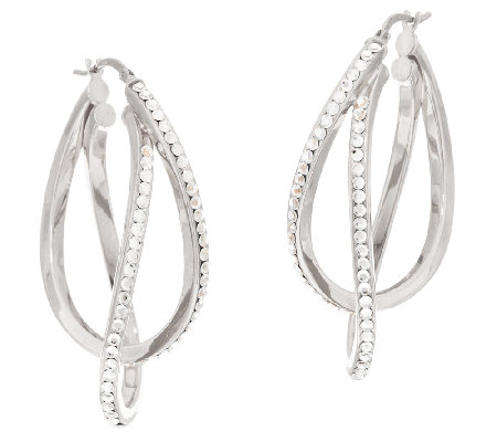 """As Is"" VicenzaSilver Sterling 1-3/4"" Crystal Double Hoop Earrings"