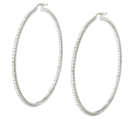"Vicenza Silver Sterling 2-1/4"" Inside-Out Crystal Hoop Earrings"