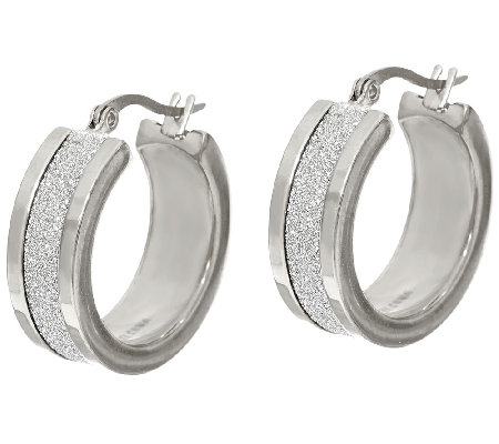 "Stainless Steel 1"" Glitter Hoop Earrings"