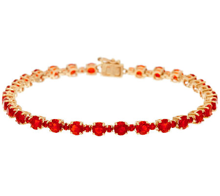 "Red Fire Opal 8"" Tennis Bracelet 14K Gold 4.85 cttw"
