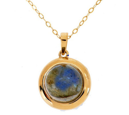 """As Is"" EternaGold 18"" Gemstone Pendant with Chain, 14K Gold"
