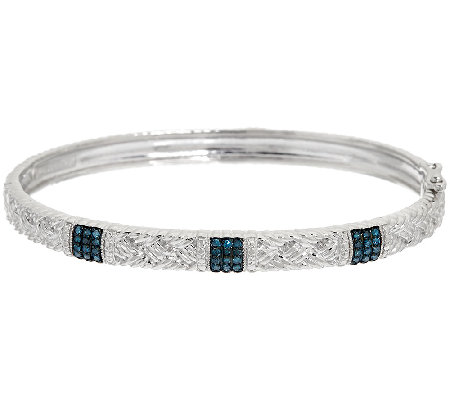 Pave' Braided Hinged Diamond Bangle, Sterling, 1/4 cttw, Affinity