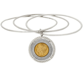 Vicenza Silver Sterling 500 Lire Coin Round Slip-On Bangle Bracelet - J327123