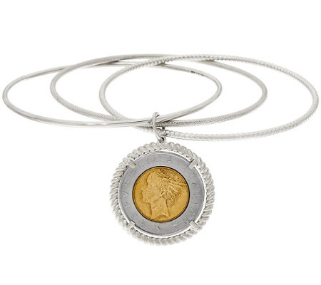 Italian Silver Sterling 500 Lire Coin Round Slip-On Bangle Bracelet