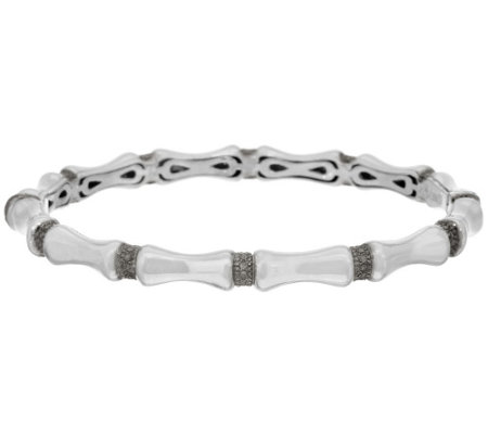 """As Is"" Sterling Silver Diamond Cut Bambo Design Small Bangle"