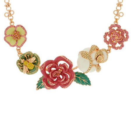 Joan Rivers Enamel Rose Garden Statement Necklace