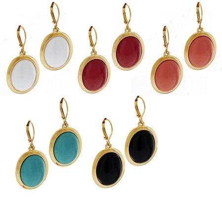 """As Is"" Joan Rivers Set of 5 Drops of Color Lever Back Earrings"