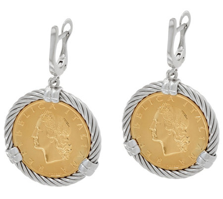 Vicenza Silver Sterling 20 Lire Coin Lever Back Earrings