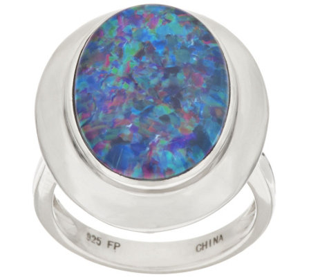 """As Is"" Sterling Australian Opal Triplet Bold Oval Ring"