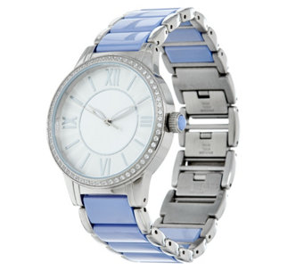 Diamonique Bezel with Ceramic Link Center Watch - J329523