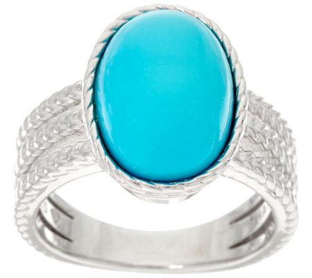 Oval Kingman Turquoise Textured Sterling Silver Ring