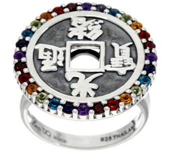Luv Tia Sterling & Multi-Gemstone Ring - J330223