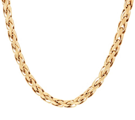 "14K Gold 16"" Polished Woven Wheat Necklace, 21.0g"