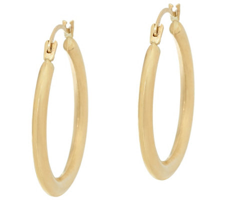 """As Is"" 14K Gold 7/8"" Round Tube Hoop Earrings"