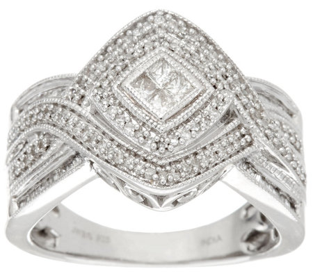Multi-Cut Woven Diamond Ring, Sterling, 1/2 cttw, by Affinity