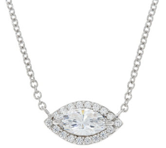 Diamonique Marquise Cut Halo Necklace, Sterling - J331223