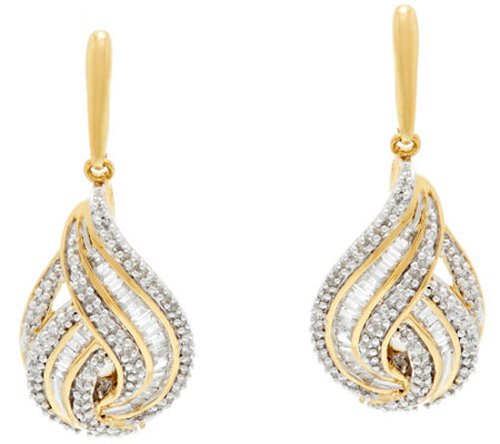 Baguette & Round Diamond 1/2cttw Earring Sterling by Affinity