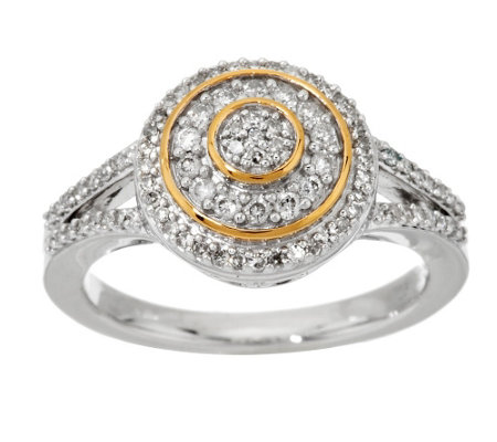 """As Is"" Micropave' Halo Diamond Ring Sterling, 1/3 cttw, Affinity"