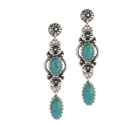 """As Is"" American West Sterling Turquoise Drop Earrings"