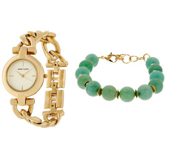Anne Klein Goldtone Watch and Jade Green Bead Bracelet Set - J333723