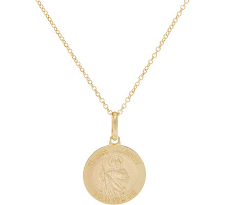 "Italian Gold Saint Pendant with 18"" Chain 14K Gold, 2.5g"