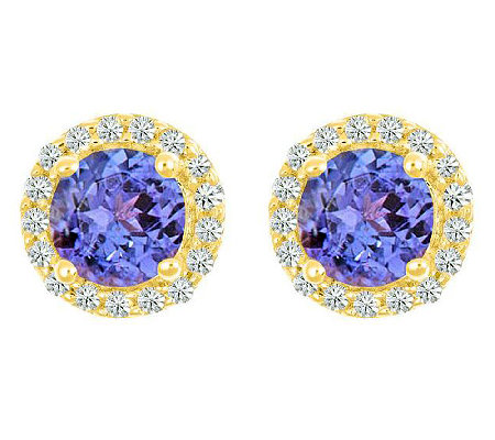 Premier Gemstone &1/8cttw Diamond Halo Earrings14K Yellow Gol