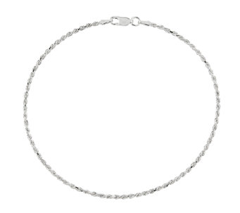 Sterling Diamond-Cut Rope Chain Ankle Bracelet - J336423