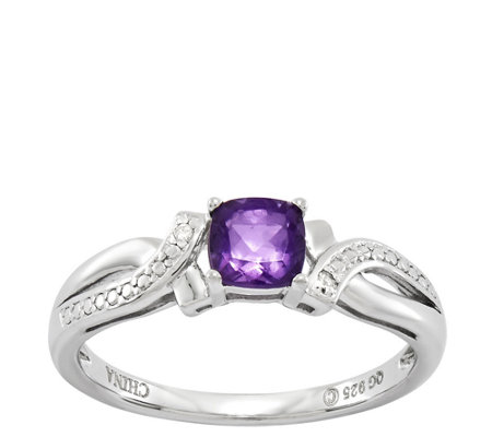 Sterling Choice of Cushion-Cut Gemstone Crisscross Ring