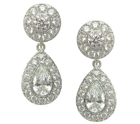 Judith Ripka Sterling Diamonique Halo Pear Drop Earrings