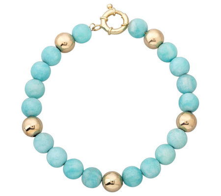 "EternaGold 7"" Gemstone & Bead Bracelet, 14K Gold"