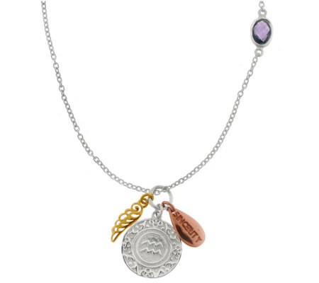 Artisan Crafted Sterling Zodiac Gemstone & Charm Necklace