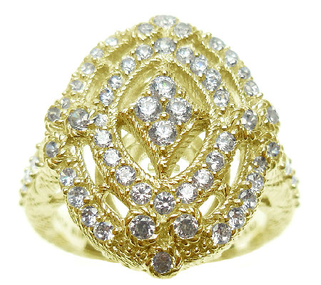 Judith Ripka Sterling and 14K Clad Diamonique O penwork Ring