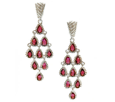 Judith Ripka Sterling Rhodolite Dangle Earrings