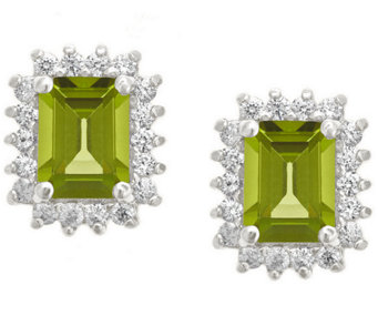Premier Emerald Cut 1.60cttw Peridot Earrings,14K - J338223