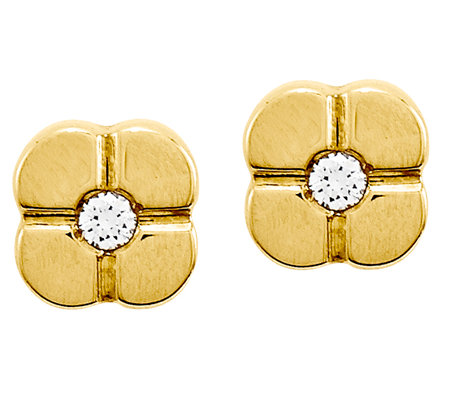 Geometric Flower with Crystal Post Earrings, 14K Gold