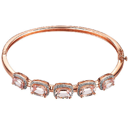 5-Stone Morganite & Diamond Bangle, Sterling/14K Rose Clad