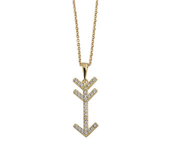 "14K Gold Crystal Arrow Pendant w/18"" Chain by Adi Paz - J338623"