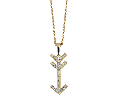 "14K Gold Crystal Arrow Pendant w/18"" Chain by Adi Paz"