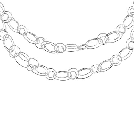 "Sterling Fancy Oval & Round Link 42"" Necklace,3/8""W"