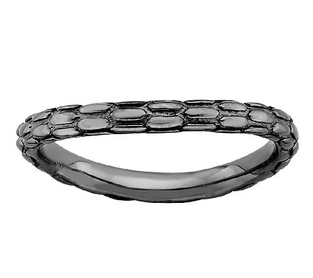 Simply Stacks Sterling & Black Plated CurvedTextured Ring