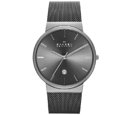 Skagen Men's Stainless Steel Gray Dial Mesh Bracelet Watch
