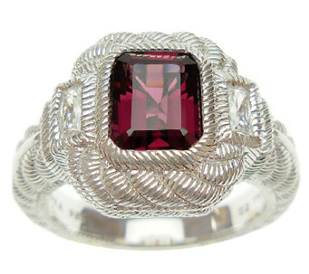 Judith Ripka Sterling Rhodolite and Diamonique Ring - J339223
