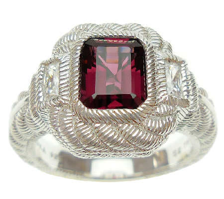 Judith Ripka Sterling Rhodolite and Diamonique Ring